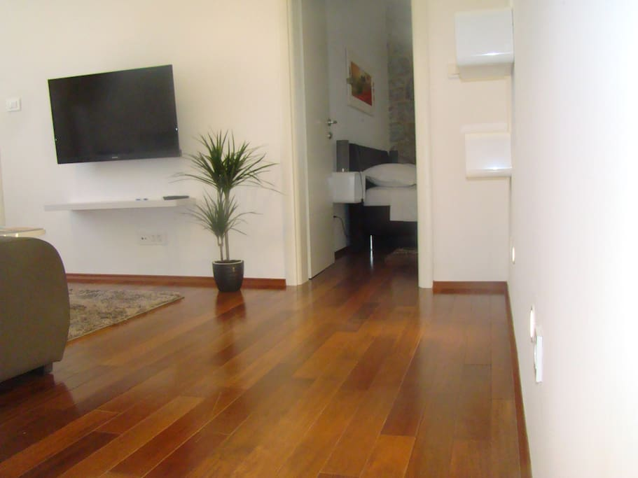 Living room with parquette flooring