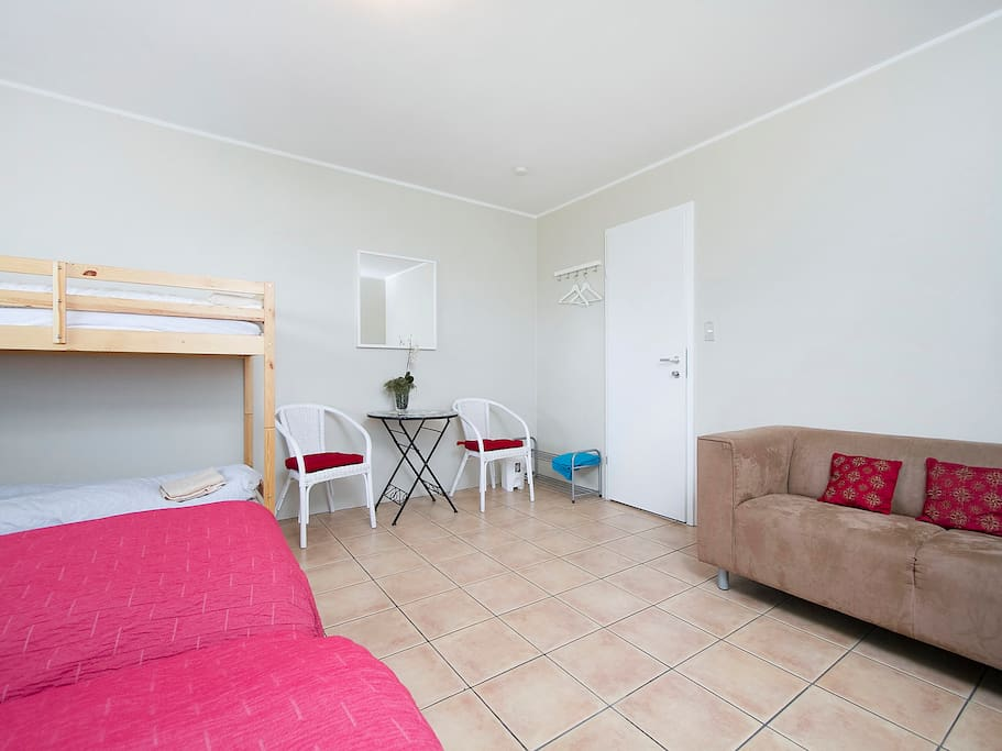 Family room - two double bed and a full size bunk bed + a sofa