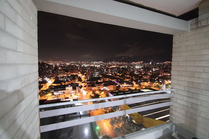 Private room 'high' up penthouse with a view