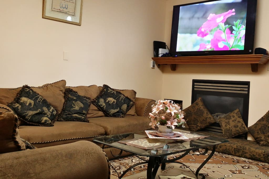 fireplace, tv, frniture is updated and newer than in picture