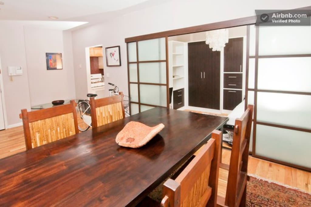 Dining Area with Teak Table and Chairs