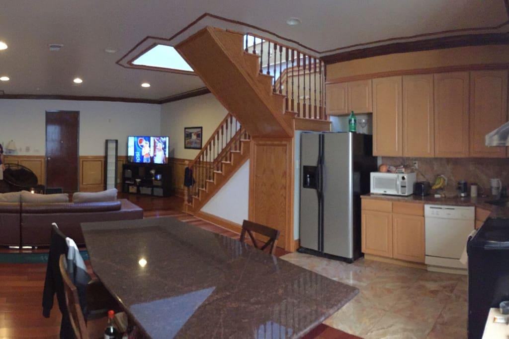 Living room and granite kitchen