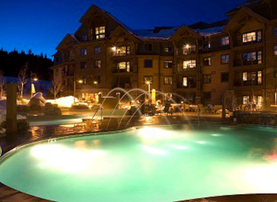 Grand Lodge at Night at the poolside
