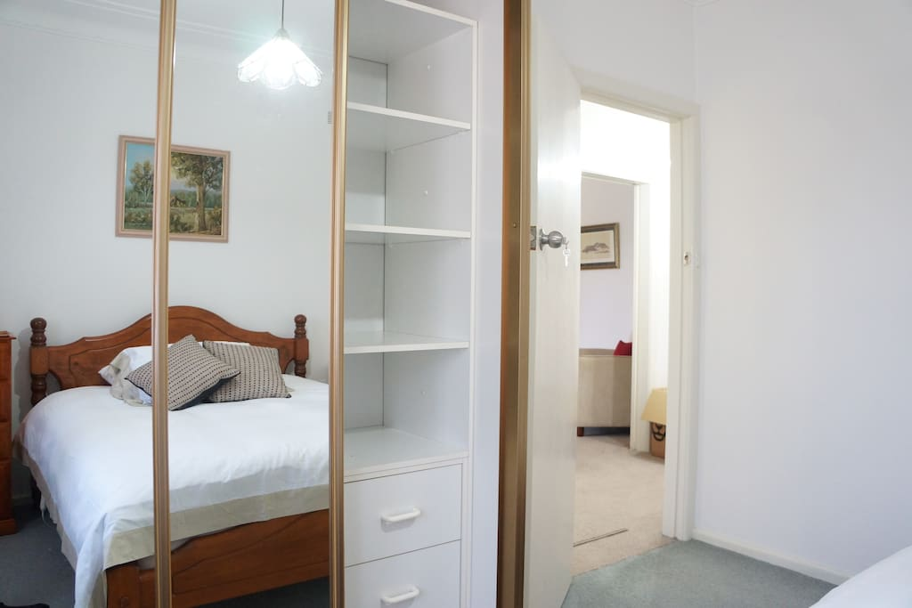 Bedroom 3: full double mirror, wardrobe