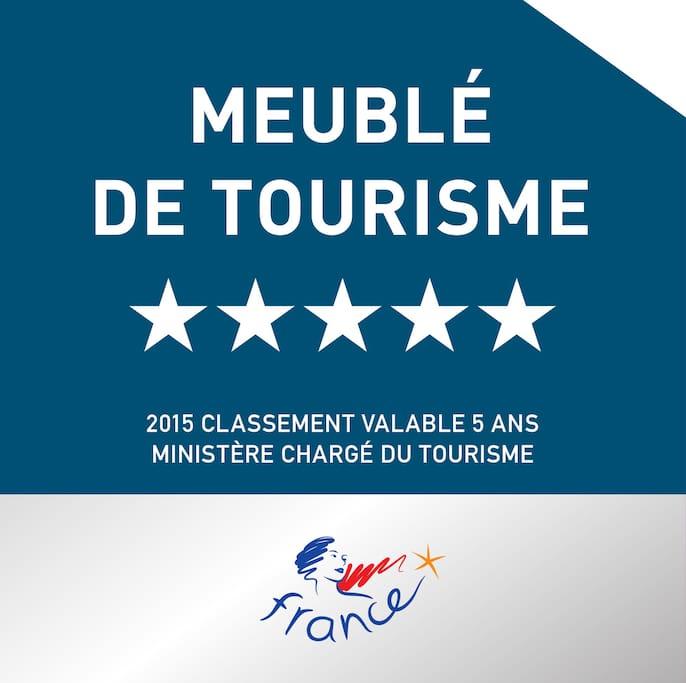 ZenInPicardie awarded Meublé de Tourisme 5-stars in 2015 by the Ministère Chargé du Tourisme!