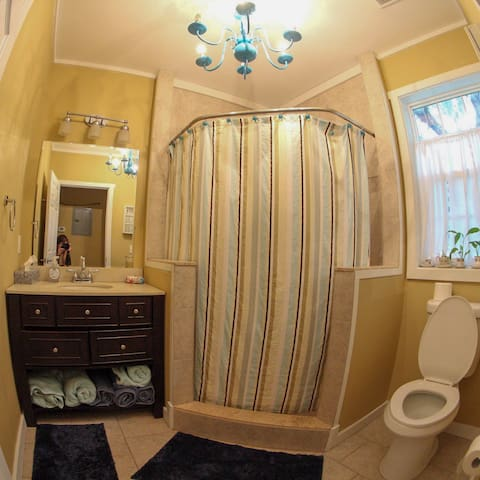 newly renovated private bathroom with large, accessible shower