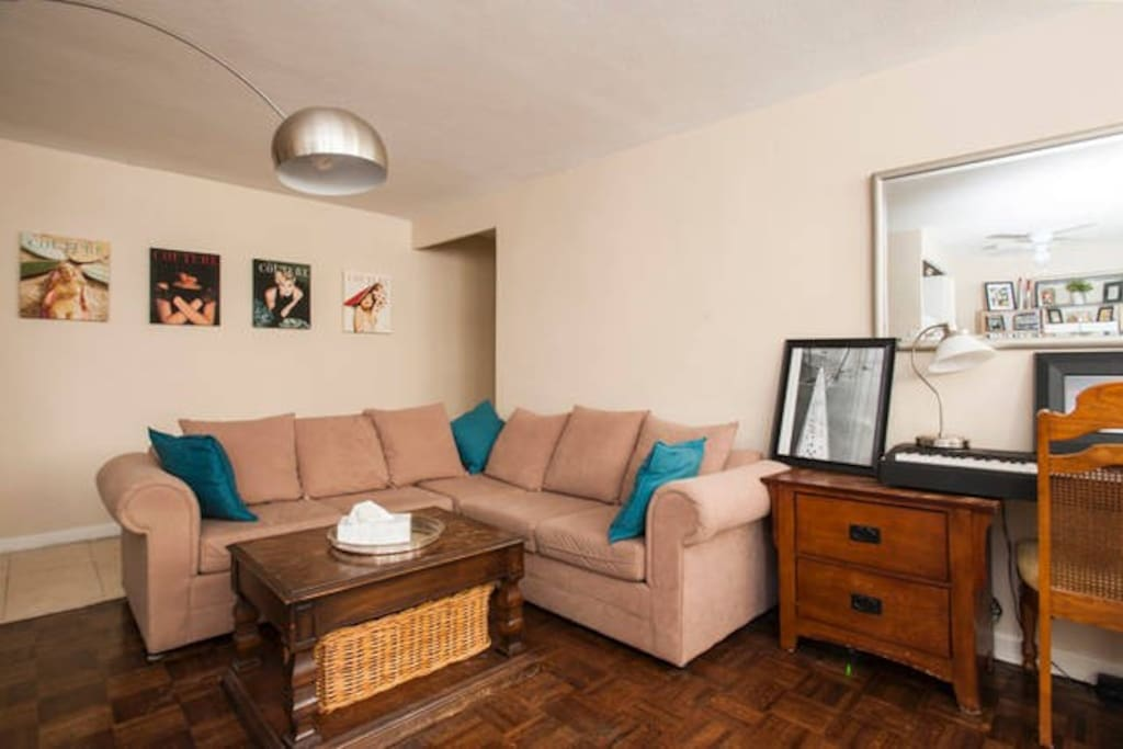 Comfortable living area with sectional sofa.