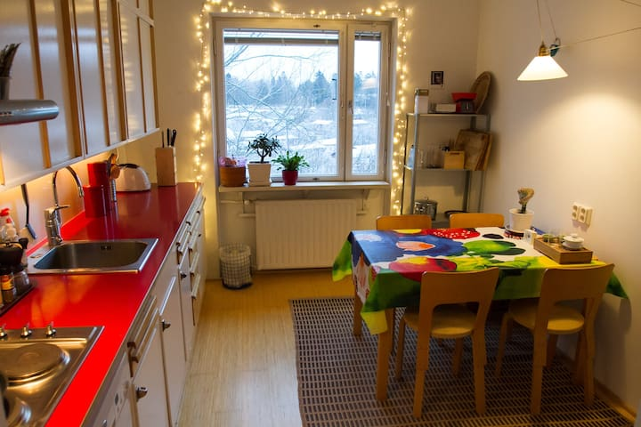 Fully equipped kitchen with fridge, oven, stove and dishwasher. View to the snowcovered urban garden
