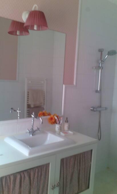 Baño completo con ducha de 1.60m x 1m