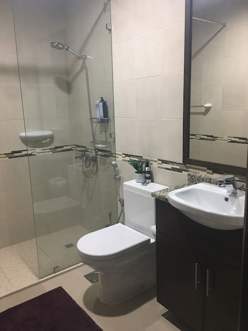 Private ensuite bathroom,towels and toiletries