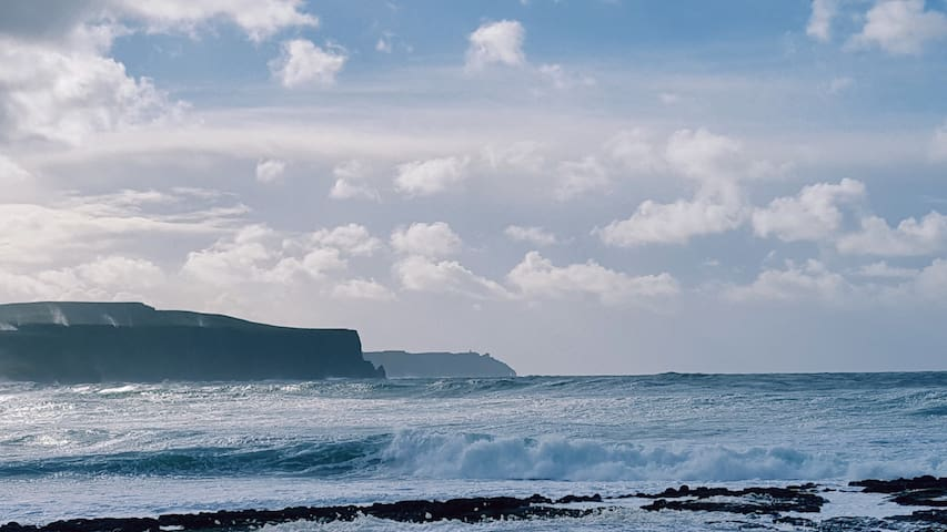 Wild Atlantic with Cliffs of Moher in the distance