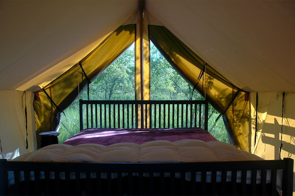 king bed in tent