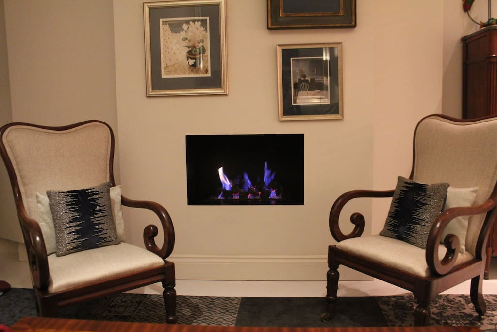 Lounge fireplace and chairs