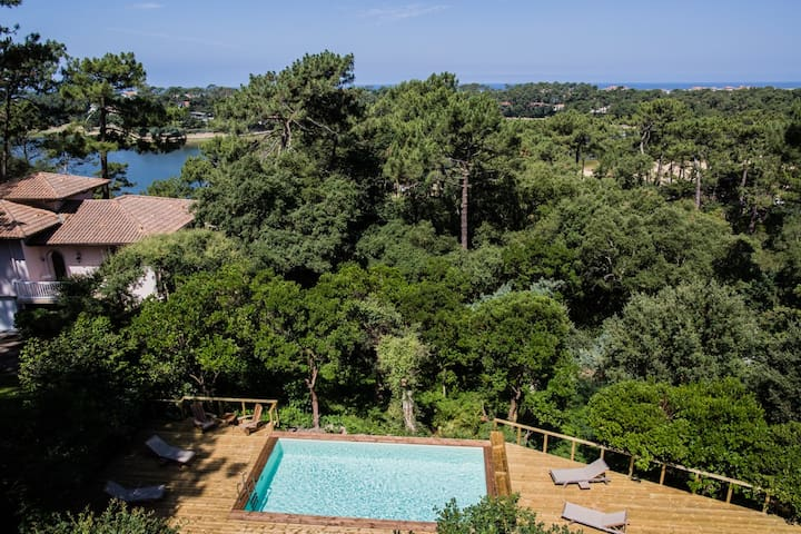 Hossegor villa with Ocean, Lake &Canopy view.