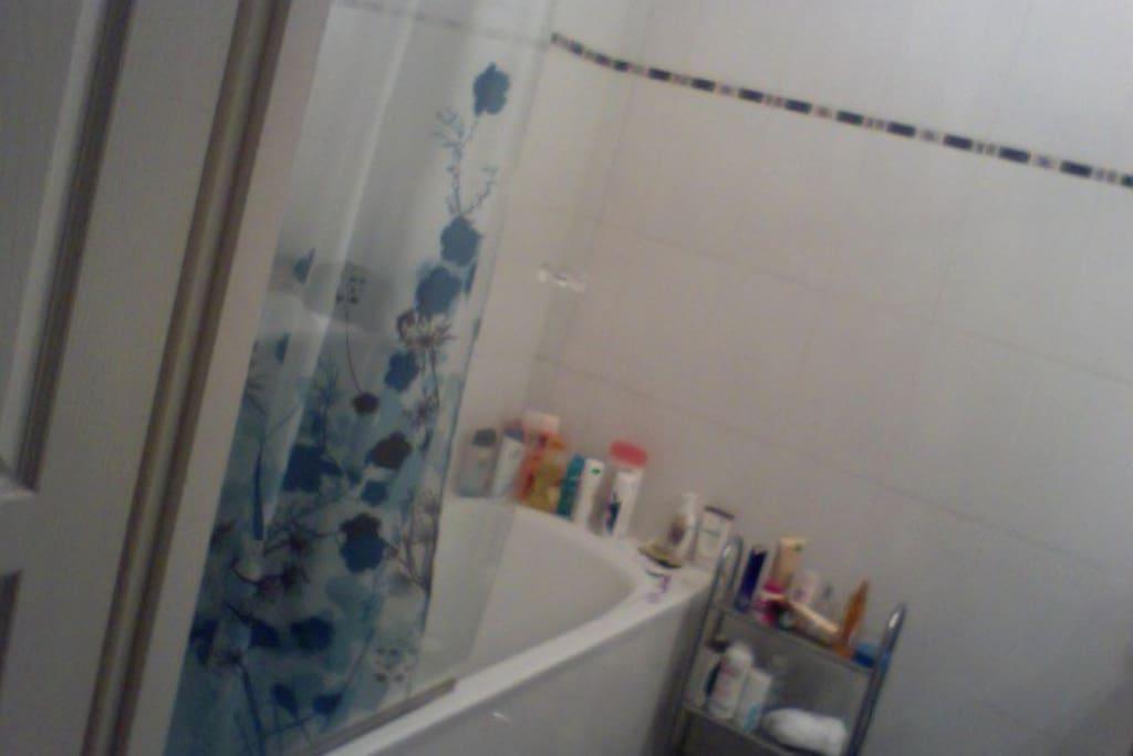 Salle de bain avec large baignoire