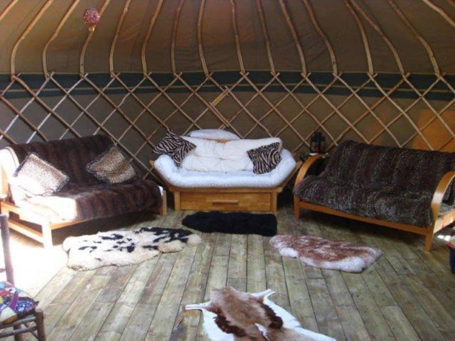 Interior shot of Savannah yurt