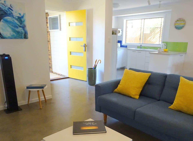 A spacious, open-plan living area.