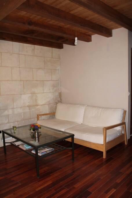 Salon avec un canapé.