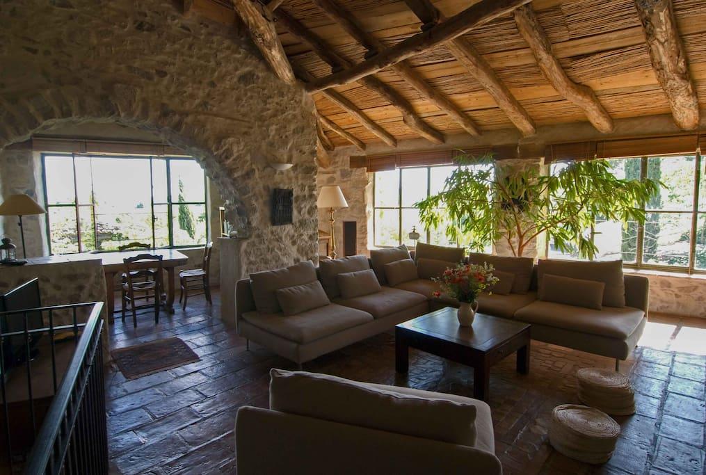 le salon à l'étage, un véritable jardin intérieur