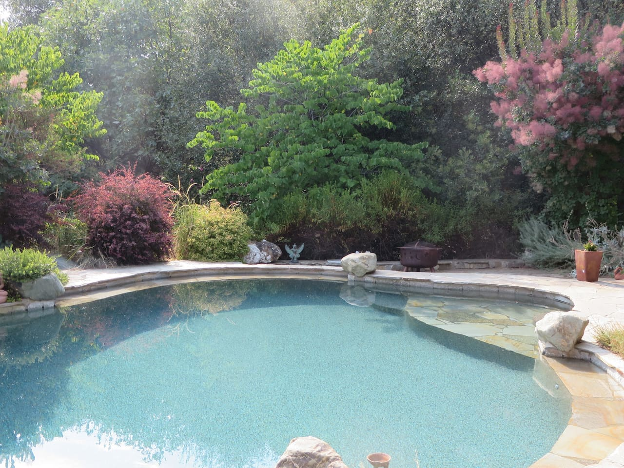 View poolside to the west.