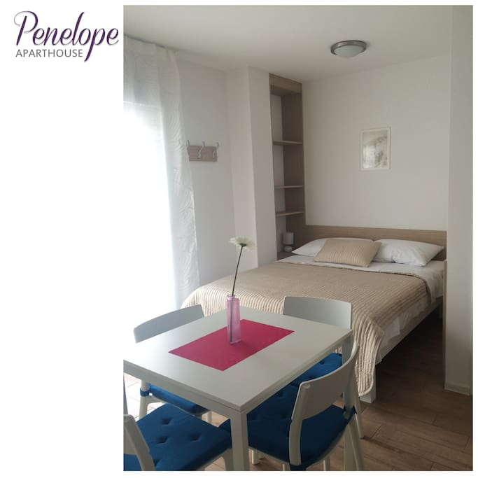 Double bed and dining table