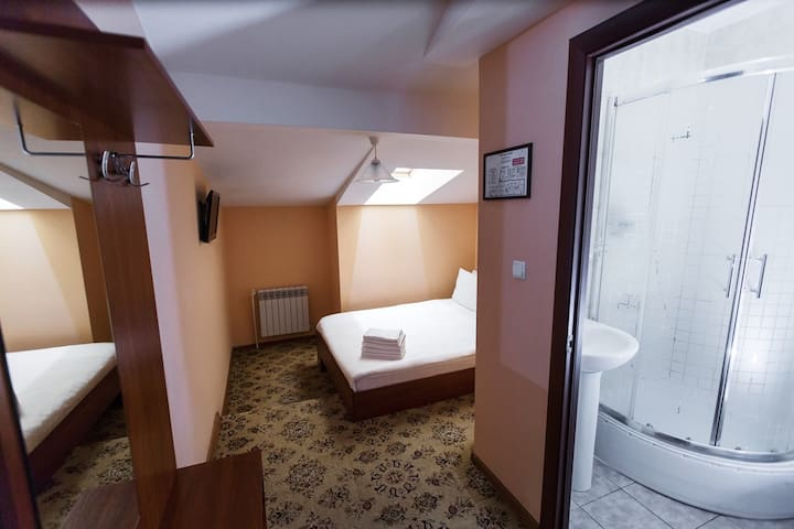 Двухместный номер-мансарда в отеле в центре города