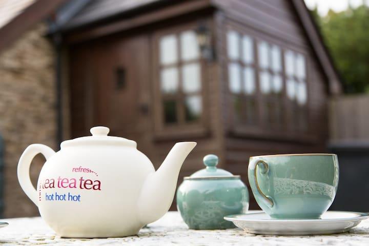 Tea in the sunny garden