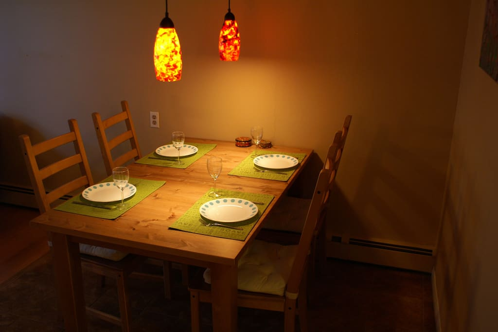 Having dinner guests? Pull-out table and extra stools make this possible.