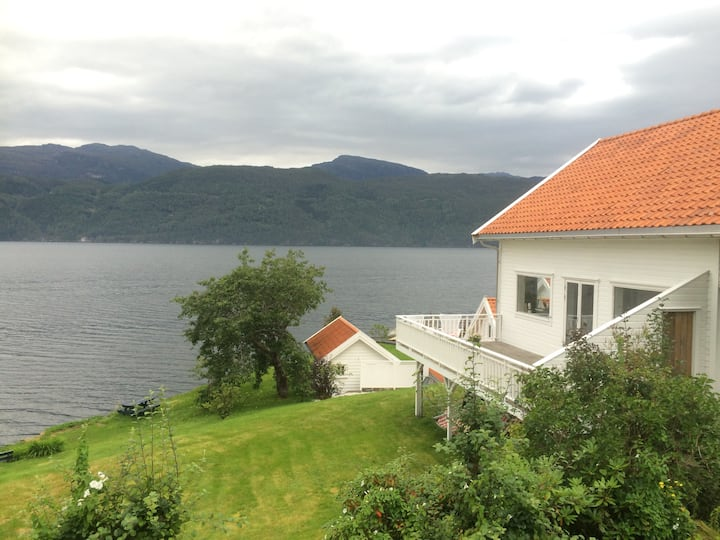 Traditional norwegian house by the seafront