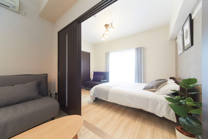Double bed Apt/Central Loc./5min Namba/Easy access