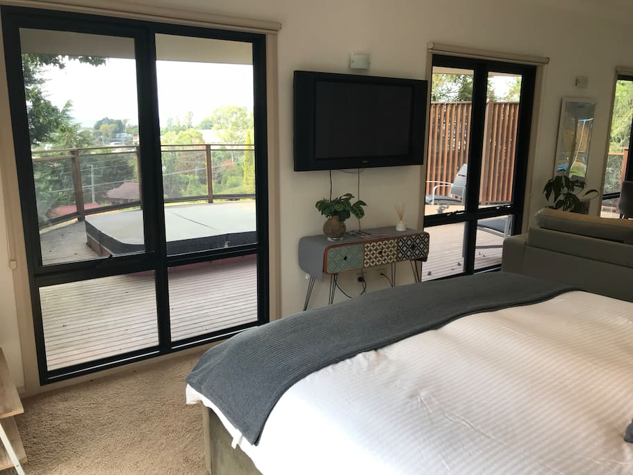 Wake up to mountain views.  Free wifi access available.  Google Cast Chrome connected to tv.   Yes that is a hot tub!!  However, at the moment this won't be available for use.  Keep an eye out as we will be getting this ready to be included in your stay at a later date.