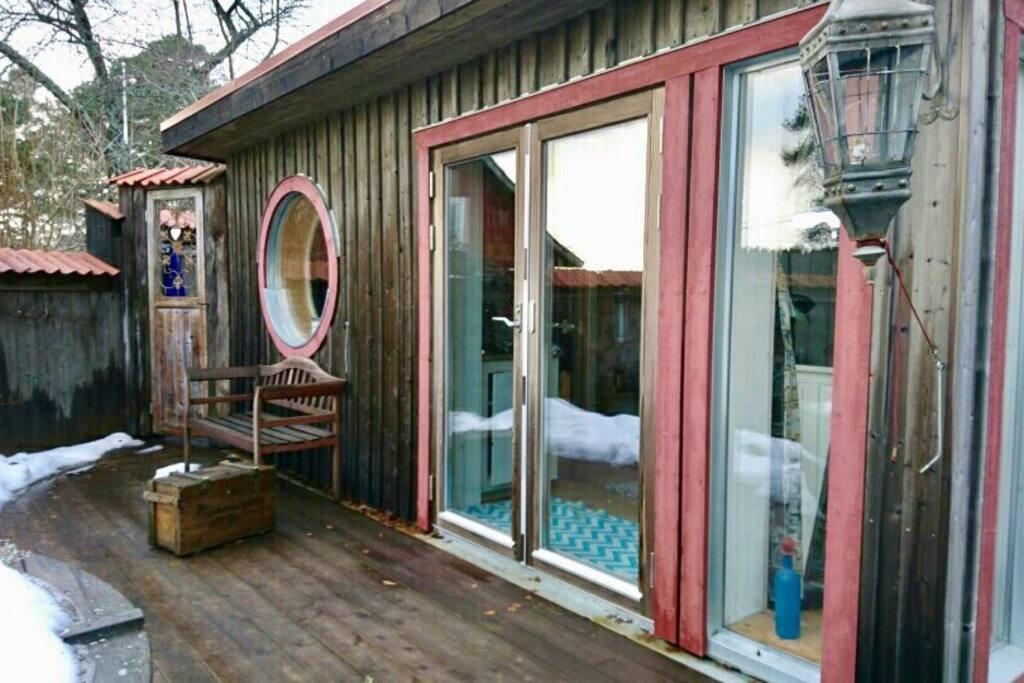 Sauna house and door to outdoor shower