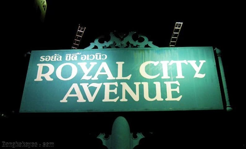 Royal City Avenue (RCA), where you can find great street food during the day and at night with cool night clubs to hang out! Just 5 minutes from our place.