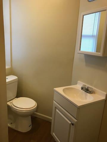 Bathroom with full sized tub/shower