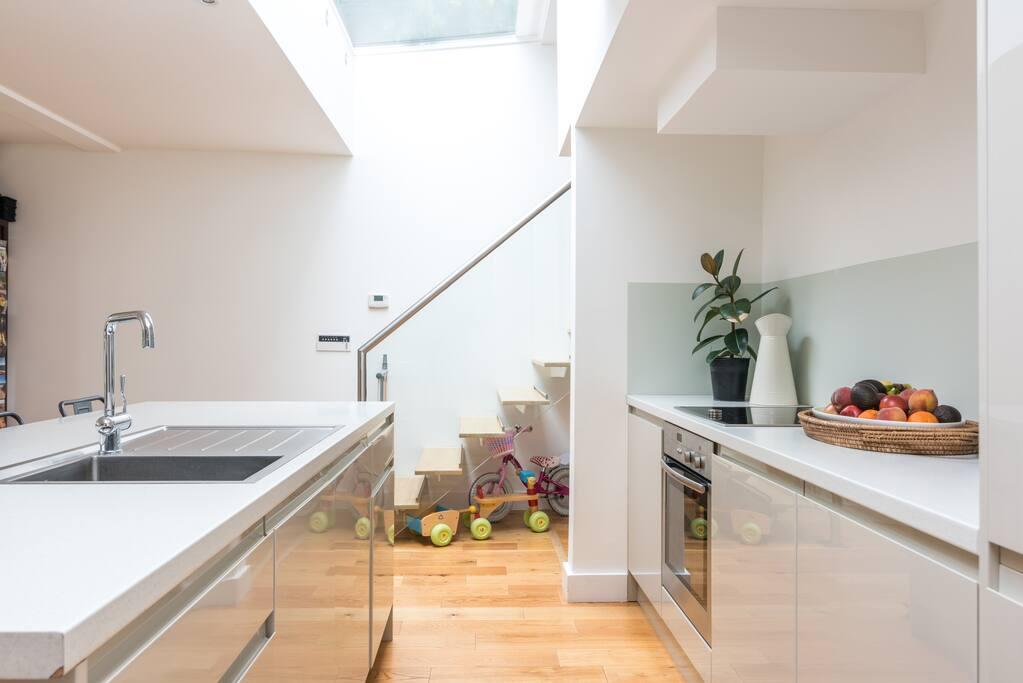 Open kitchen for sociable dinner