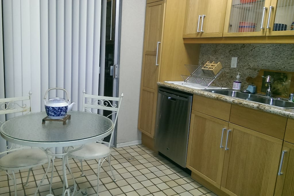 Kitchen with dishwasher. Front unit leads to balcony!