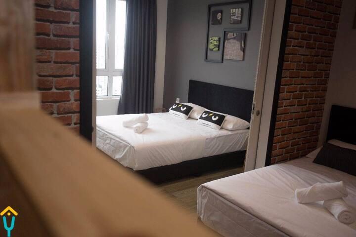 Loft Designed Studio with 2 Queen Bed, 4 pax