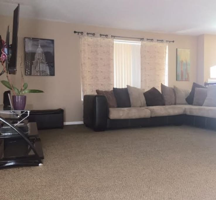 Spacious living room with super comfortable sectional!