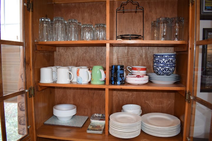 We have oodles of dishes, cups, and glasses for you--pots and pans, too.