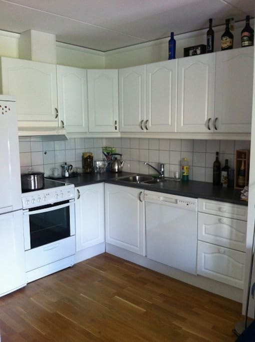 Kjøkken med komfyr/ovn, oppvaskmaskin og kjøleskap/fryser