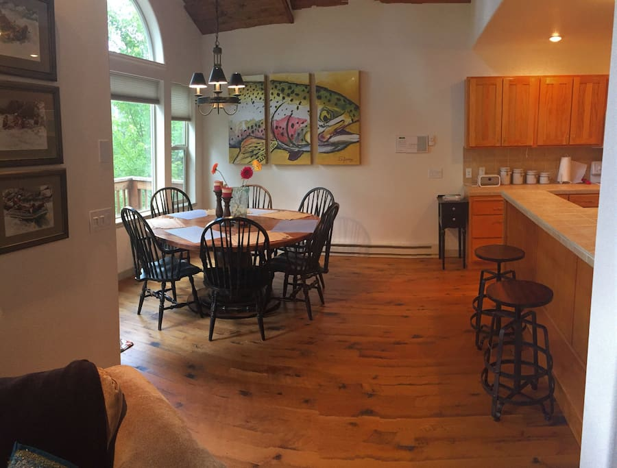 Spacious dining / kitchen area with view