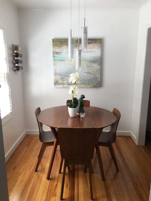 Enjoy a meal in this cheerful dinning space.