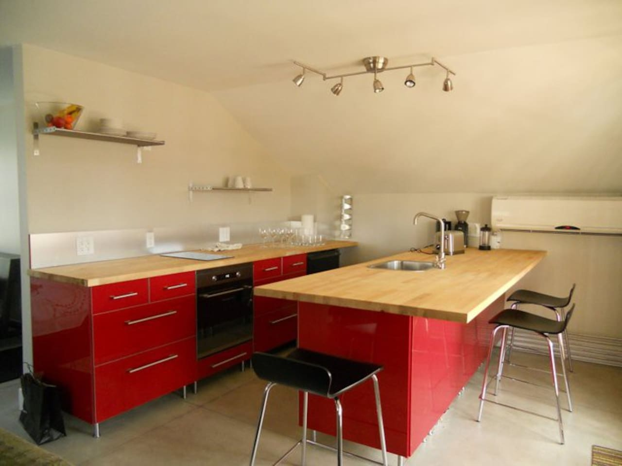 Well appointed stylish IKEA kitchen.