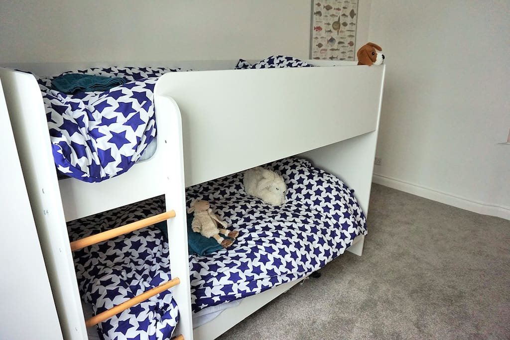Bunk beds in second bedroom, also with bookcase with many books, toys and games