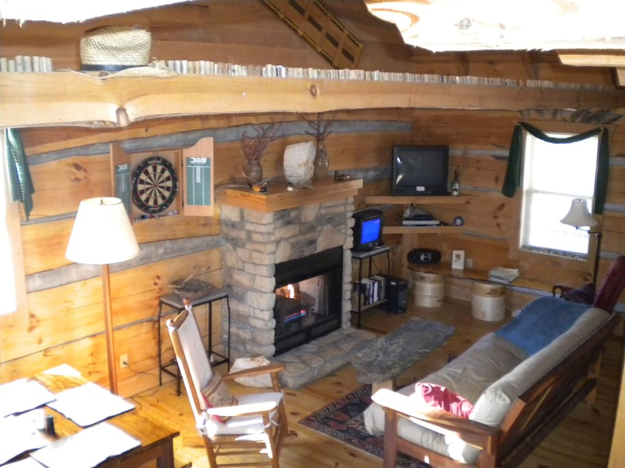 Your cozy living area, complete with gas fireplace, AC, cable TV, WiFi...and more!