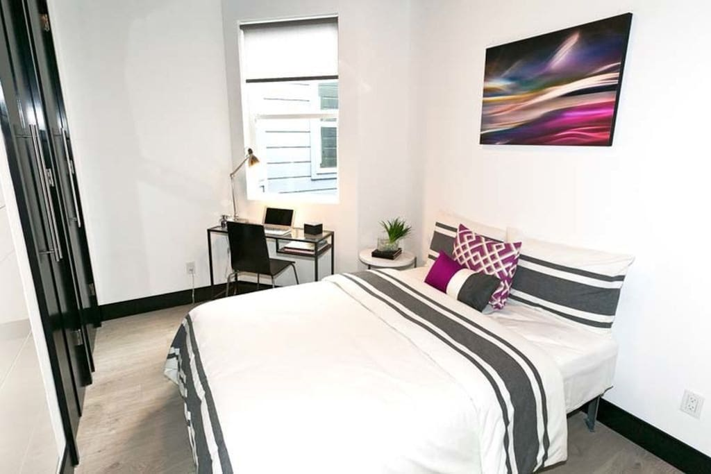 New artwork and updated bedding in all rooms since this photo was taken. Flatscreen TV and Chromecast in room and ample storage (closets and dresser). Desks also removed to allow more space in the rooms.