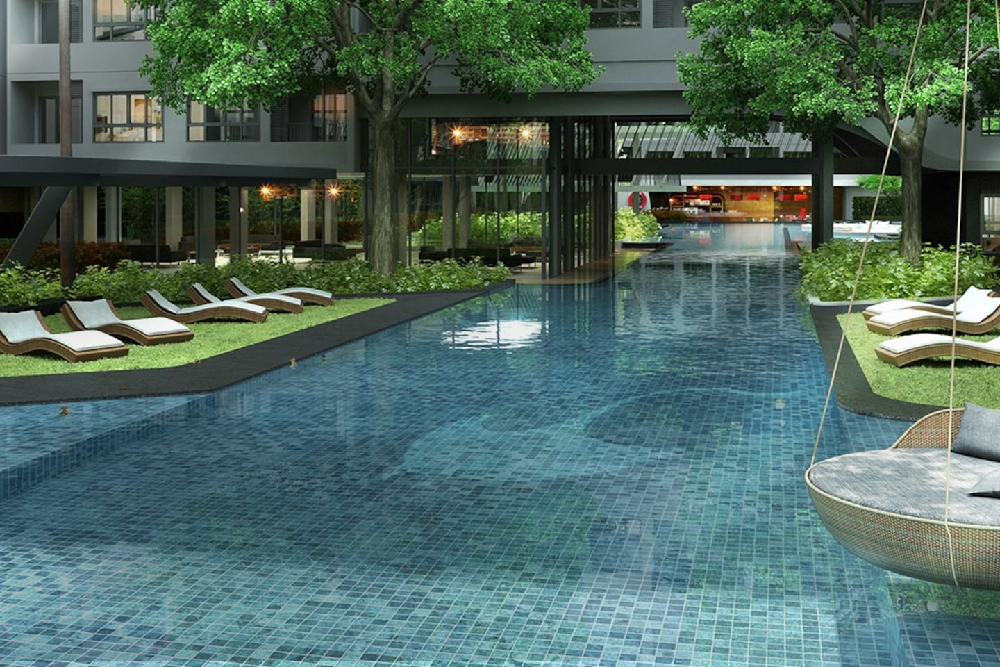 Large swimming pools, looking like holiday resort in the heart of bangkok