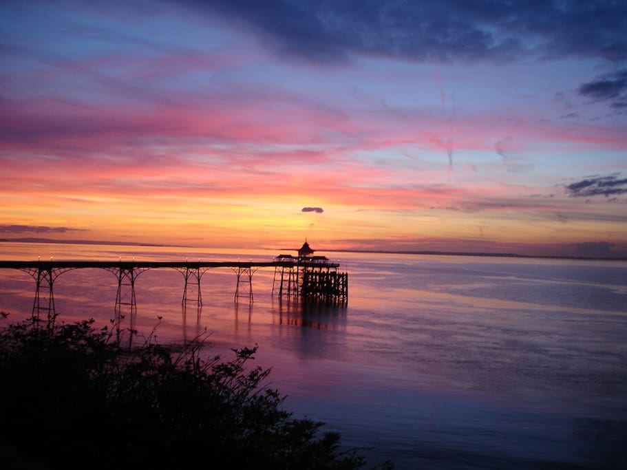 Sunset view of Clevedon Pier