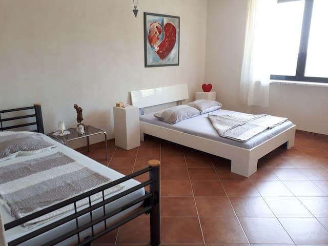 Schlafzimmer 1 ( 1 Bett 1,60 x 2,00 ) ( 1 Bett 1,00 x 2,00 )