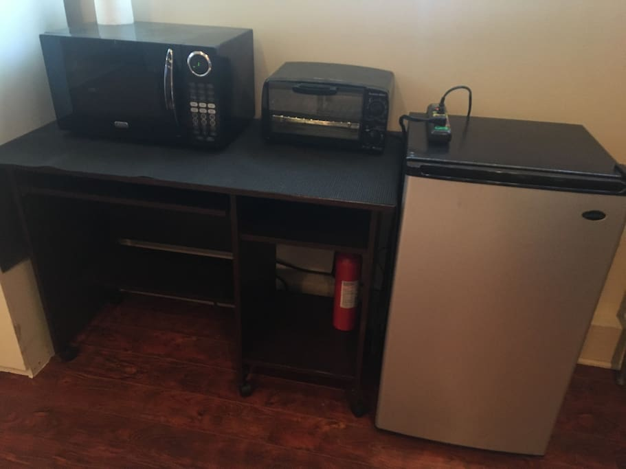 Microwave, toaster oven & mini fridge